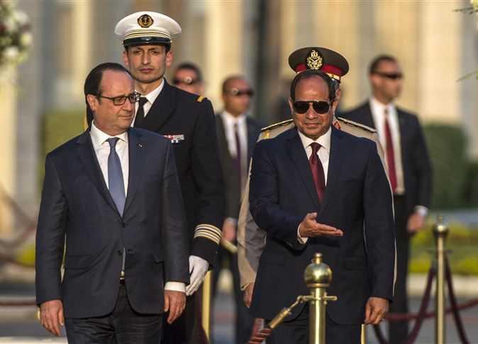 الرئيس السيسي يستقبل نظيره الفرنسي فرانسوا هولاند بقصر القبة