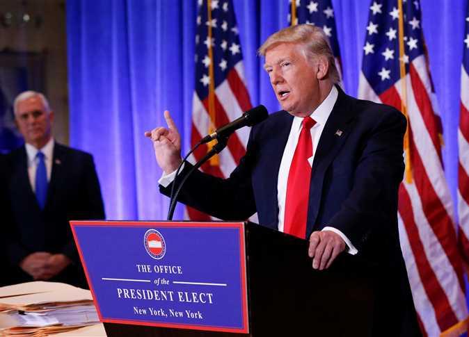 المؤتمر الصحفى الأول للرئيس الأمريكى دونالد ترامب، 11 يناير 2017. - صورة أرشيفية