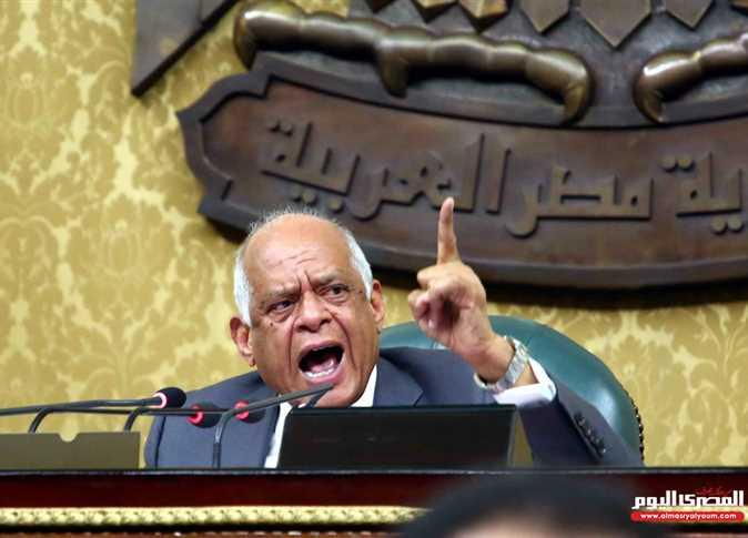 رئيس مجلس النواب الدكتور علي عبد العال ينفعل خلال جلسة شهدت مشادات بين النواب ووزير النقل - صورة أرشيفية