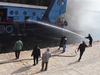 السيطرة على حريق بفندق سياحي عائم بمرسي وينجز التابع لشركة إيجوث للسياحة، وإخلاء المراسى المجاورة من كافة المراكب، مركز إسنا، الأقصر