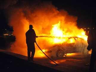 حريق سيارة على طريق «مصر ـ إسكندرية» الصحراوي
