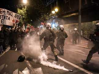مظاهرة احتجاجية فى أثينا، ضد زيارة المستشارة الألمانية أنجيلا ميركل.