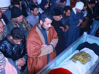 جنازة الشهيد مجند عبدالونيس عادل صبحى، شهيد قوات الشرطة، الذى استشهد أثناء خدمته بمنطقة الأحراش برفح شمال سيناء
