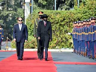 مراسم استقبال الرئيس عبد الفتاح السيسي لرئيس جنوب السودان سيلفا كير بقصر الإتحادية