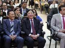 السفير الياباني بالقاهرة خلال مؤتمر الإعلان عن إنشاء مستشفى أبو الريش الياباني الجديد، بحضور المستشار عدلي منصور، الرئيس السابق، والدكتور جابر نصار، رئيس جامعة القاهرة، 16 مايو 2017.