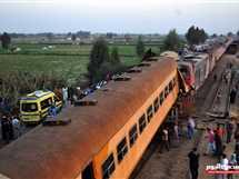 موقع حادث تصادم قطارين في منطقة كوم حمادة بمحافظة البحيرة الذي أسسفر عن 12 قتيلا بحسب وزارة الصحة