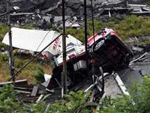 انهيار جزئي لكوبري «موراندي» في مدينة جنوة الإيطالية